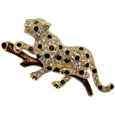 Cristalli Swarovski e smalto leopardo gatto spilla,