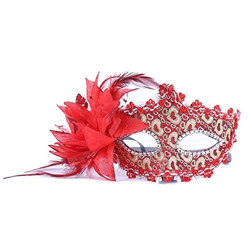 thematys Venezianische Venetianische mit Blume Rot Stoffbezug Maske Maske Maskerade Karneval Fasching Verkleidung Kostüm Halloween Party Maskenball Ball Shades of Grey Mr Grey Mitternacht (Rote Männer Maskerade-masken Für)
