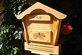 Toller Holz-Briefkasten, Briefkasten HBK-SD-HELLBRAUN aus Holz in amazon hellbraun braun Briefkästen Postkasten Spitzdach