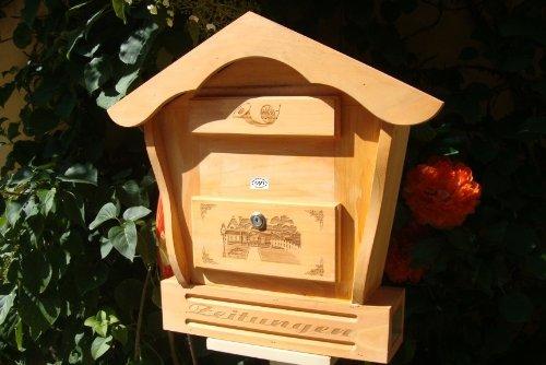 Toller Briefkasten, Holzbriefkasten HBK-SD-HELLBRAUN aus Holz in amazon hellbraun braun Briefkästen Postkasten Spitzdach