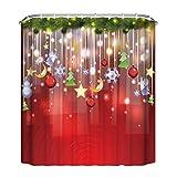 SetMei Weihnachten wasserdicht Polyester Badezimmer Duschvorhang Decor mit Haken Vorhang (F)