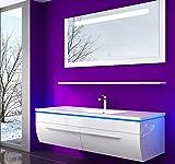 Danny Komplett Vormontierte Badmöbelset 120 cm Weiß Badezimmermöbel Waschbeckenschrank mit Waschtisch Spiegel mit LED Beleuchtung Hochglanz Lackiert Homeline1