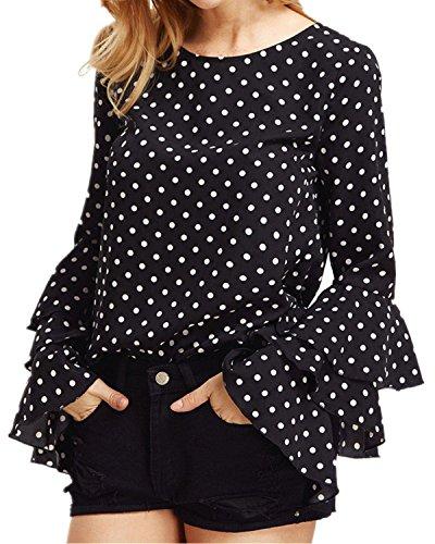 StyleDome Mujer Camiseta Mangas Largas Volantes Lunares Blusa Elegante Noche Casual Oficina Negro EU 48