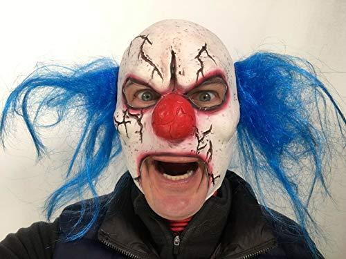 Maschera da clown, spaventosa, con spaccature, bocca aperta, in lattice, con capelli rossi, maschera horror per halloween e travestimenti da zombie