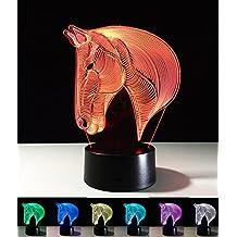 Lámparas de Art Deco, Lámpara de Noche LED 3D, color cambiando las luces LED, Decoración para el Hogar Decoración para Niños Mejor Regalo, Luz de Control de Tacto 7 colores Cambiar lámparas de escritorio USB Powered (Cabeza de caballo)