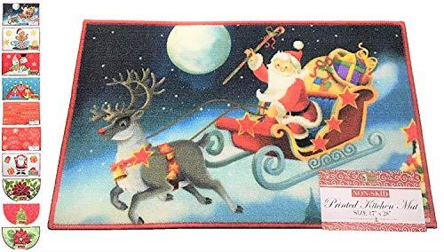 """Better Home Weihnachts-Teppich, Weihnachtszeit, lustiges Design, Rutschfest, für Zuhause, Küche, Fußmatte, bequemes Steh- und Eingangsbereich, 43 x 71 cm 17\"""" by 28\"""" Santa Sleigh"""