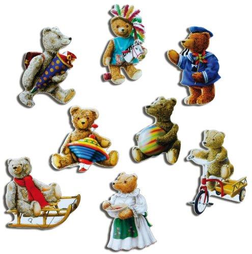 Kühlschrankmagnete Nostalgie Bär Magnete für Magnettafel Kinder stark 8er Set Tiere lustig mit Motiv Vintage Teddy Bären -