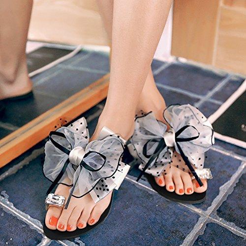 ZYUSHIZ Bow Tie Hausschuhe synthetischer Diamant den minimalistischen Stil Ziehen Sie T 39EU