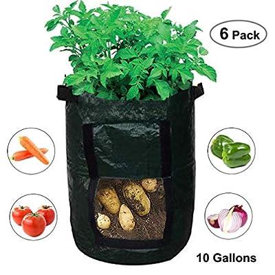 amgateeu 2Jardin Grow Sac de pommes de terre légumes Bac à fleurs avec rabat à accès pour la récolte ~ respectueux de l'environnement PE étanche