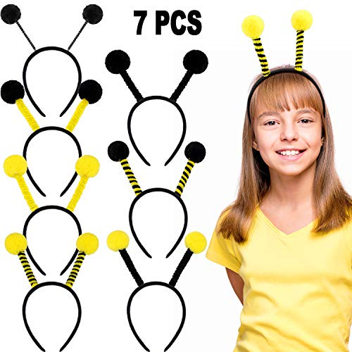 7 Stücke Biene Antenne Stirnband Biene Tentakel Haarband Haarschmuck für Halloween Cosplay Party Kostüm