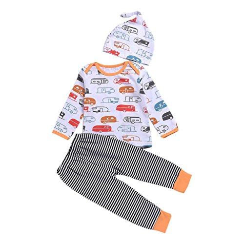Babykleidung Longra Baby Mädchen Jungen Dinosaurier-Druck Kleidung mit Herbst Langarmshirt + Hose +Kappe Outfits stellten(0-24Monate) (100CM 18Monate, White)