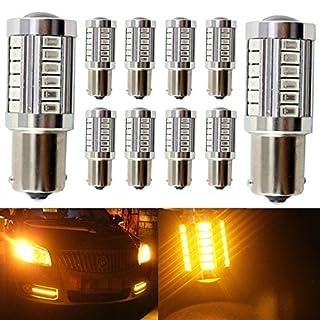 KaTur 10pcs 1156 BA15S 1141 7056 5630 33-SMD Amber 900 Lumens 8000K Super Bright LED Turn Tail Brake Stop Signal Light Lamp Bulb 12V 3.6W