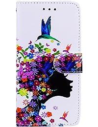 Coque Galaxy S8, BONROY Motif Fille Florale PU Cuir Portefeuille Étui Telephone Housse Cas Coque pour Bookstyle Flip Case Cover Fermeture Magnétique avec Support Slots de cartes Etui de Protection pour Samsung Galaxy S8