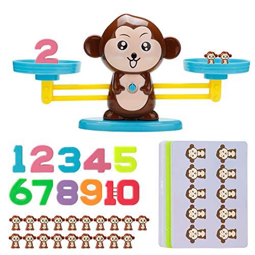 Vintoney Juguete Educativo de Números, Mono Juguete Matemático de Equilibrio, Regalo Divertido para Niños, Ideal para Niños Aprender los Números