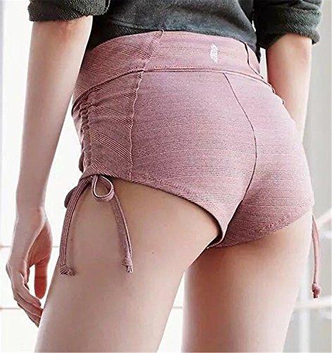 EMIN Damen Schlank Baumwolle Sporthose Shorts Hot Pants Strand Running Gym Yoga Hosen Rosa