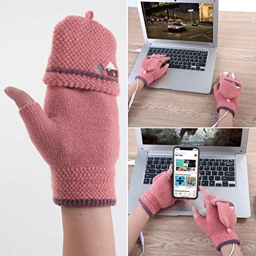 bescita Winter Warm Frau  Männer Handschuhe, Beheizte USB-Handschuhe, bis 45 °C, Entnehmbare Heiz-Elemente (Beheizbare Tastatur) (B)