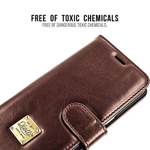 SAMSUNG GALAXY S8 PLUS / S8+ Étui Portefeuille, QIOTTI Folio Wallet Case avec[ RFID Blocking Protection ] [ Fonction Présentoir ] [ 3 Card Slots ] [ Magnetic Hidden Closure ] [ Faux cuir éco de qualit MARRON