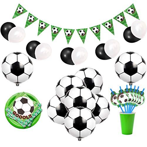 JOYMEMO Fußball-thematische Partydekorationen mit Fußballfolienballons, Fahnenbanner, Servietten und Strohhalmen