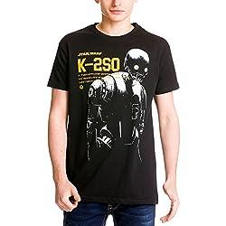 Star Wars Rogue One Herren T-Shirt K-2SO Droid in the Dark Elbenwald, Baumwolle schwarz - XL