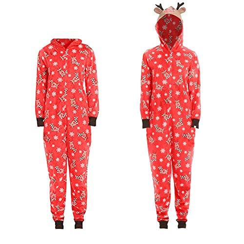 SamMoSon Pantaloni da Lavoro Pantaloni Renna di Natale | Abiti per la Famiglia | Pantaloncini da Uomo Pjs Fleece Hooded Footed Onesie Pigiama Pagliaccetto Pantaloni Costume di Halloween per Le Donne