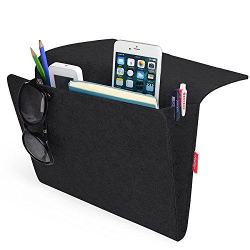 Tasca da letto, portaoggetti letto comodino caddy storage organizer per sistemare tablet magazine iphone piccoli oggetti casa divano scrivania portatutto (nero)