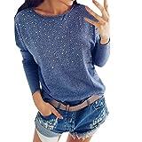 Linkay T Shirt Damen Langarm BluseBeiläufig Tops Sweatshirt Oberteile Mode 2019 (Blau, X-Large)
