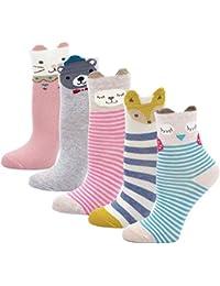 LOFIR Calcetines Divertidos de Algodón para Niñas Calcetines Animales, Calcetines con Dibujos de Perro Gato, Calcetines Antideslizantes para Niñas de 2-11 Años, Talla 20-34, 5 pares