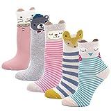 Kinder Socken Baumwolle Sneaker Socken Kleinkind Mädchen Karikatur Niedliche Tier Socken Lässige Sport Schulen Laufen Socken Größe 20-34, für 2-11 Jahre, 5 Paare