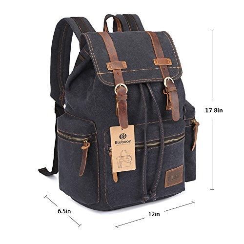 Imagen de bluboon vintage  de lona para hombre/mujer casual backpack canvas rucksack negro  alternativa