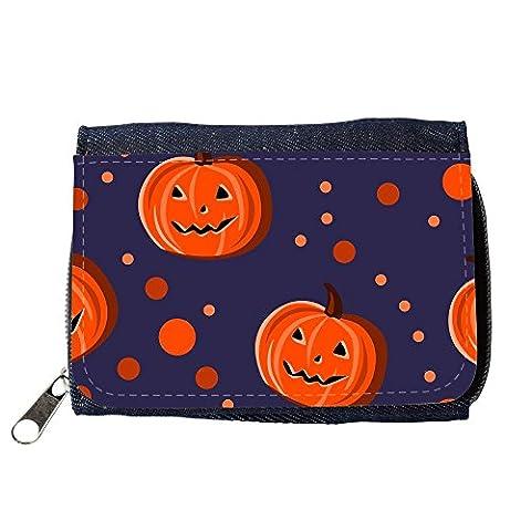 Portemonnaie Geldbörse Brieftasche // V00002079 Halloween-Kürbisse und Punkte // Purse Wallet