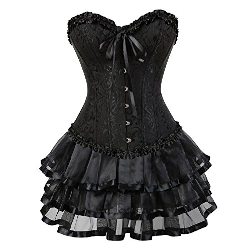 Corsetto Bustino in Pizzo con Gonna Sexy Halloween Burlesque fetisch Donna Hot Taglie Forti Nero m