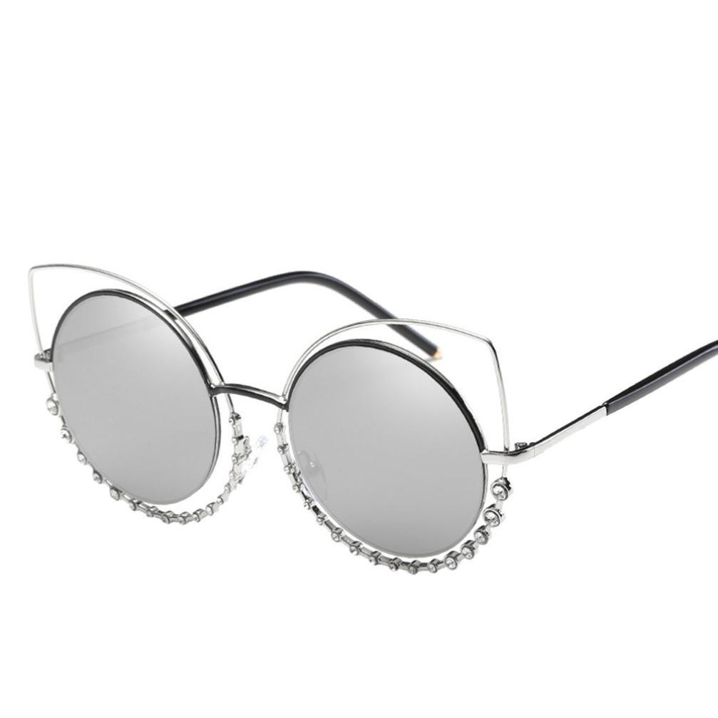 Lunettes de soleil,LHWY Lunettes de soleil femmes sport Lunettes Diamond Cat Eye (Or, F)