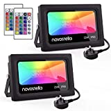 Novostella 2 Pack 15W LED RGB Flood Light DEKRA Tested, Coloured Floodlight with Remote Control, IP66 Waterproof, Dimmable Decorative Garden Light, 16 Colours 4 Modes, Outdoor Stage Landscape Lighting