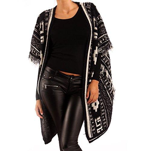 Young-Fashion Damen Strick Poncho Hippie Cape mit Ethno Muster Cardigan mit Fransen