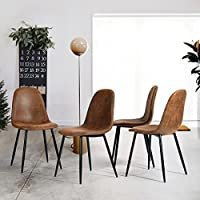 Fanilife Set of 4 Dining Chairs PU Leather Style Modern Lounge Chair Metal Legs Side Chairs Suede Brown
