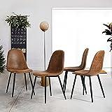 Fanilife-Set von 4 Esstisch Stühle PU Leder Style Moderne Lounge Stuhl Metall Beine Seite Stühle Braun, Wildleder