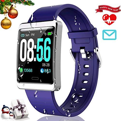 CatShin Smartwatch Fitnessuhr-CS09 IP67 Fitness Armbanduhr Fitness Tracker Wasserdicht Armband Sport Uhr Activity Tracker für Damen Herren Schrittzähler Blutdruck Pulsmesser-Android/IOS (Blau)