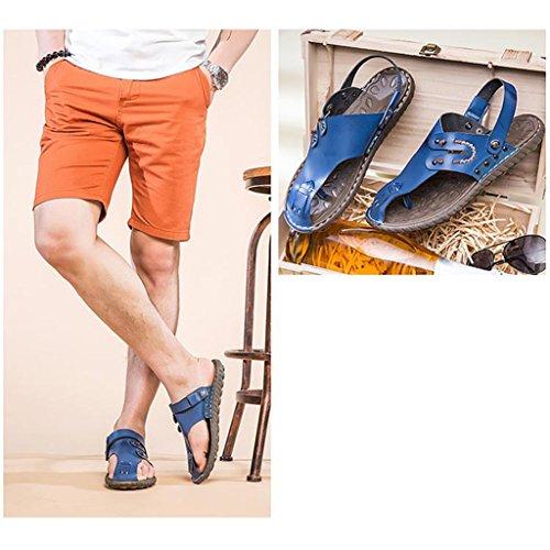 Eagsouni® Homme peau de vache confortable Beach Sandales Bout Fermé Bleu