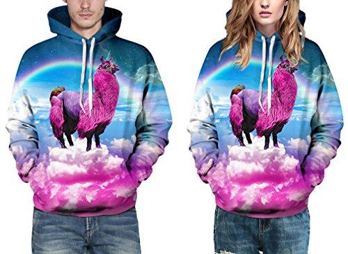 EmilyLe Herren digitaldruck Galaxy Bunt Sweatshirt Langarm Kapuzenjacke mit Tier Muster Frühling Jumper Fashion Pullover Alpaka