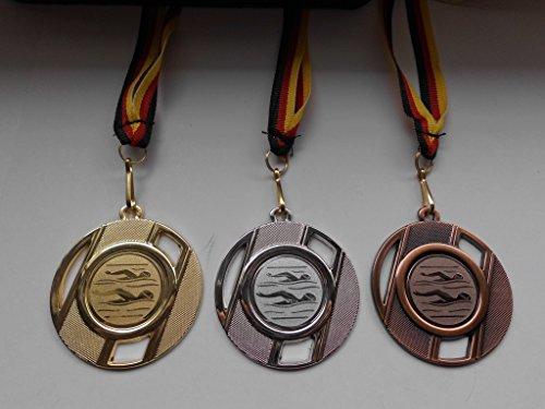 Fanshop Lünen Medaillen Set - aus Metall 50mm - Schwimmen - Schwimmensport - Gold, Silber, Bronze - Alu Emblem 25mm - Gold,Silber,Bronce - mit Medaillen-Band - Medaillenset - (e257) - -