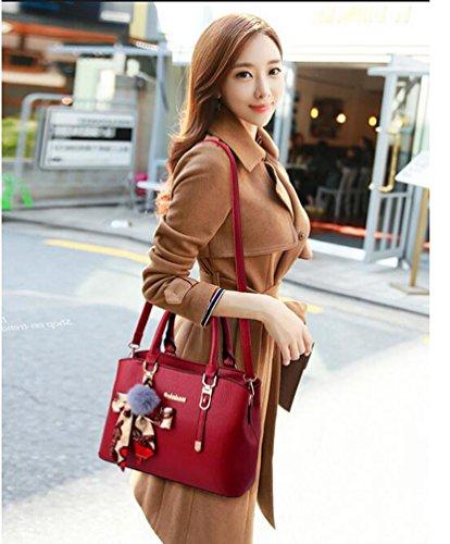 Womens Luxury Handbag Style Tote Elegant Shoulder Bag -  Wine Red