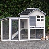 Animalhouseshop.de Kaninchenstall Advance Weiss Grau 122x62x93cm