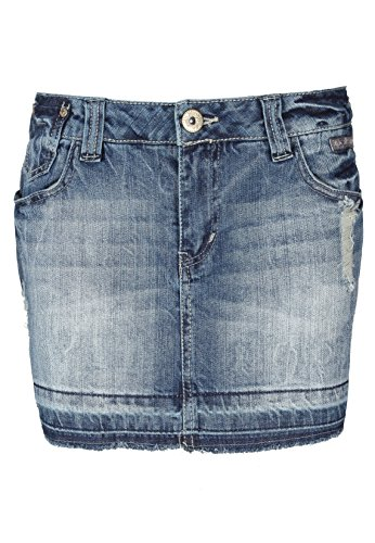 Fresh Made Damen Jeansrock mini | Jeans Minirock aus hochwertigem Denim middle blue M (Tasche Denim Mini-rock)
