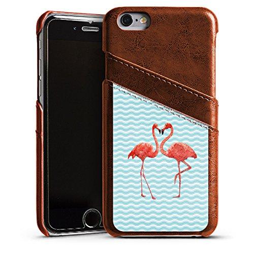 Apple iPhone 5s Housse Outdoor Étui militaire Coque Flamand rose Été Oiseau Étui en cuir marron