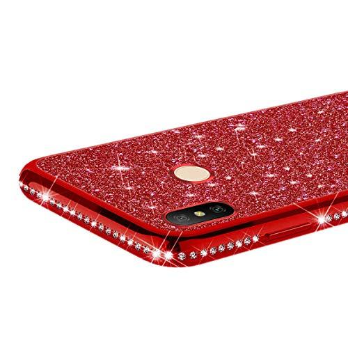 JAWSEU Compatibile con Xiaomi Mi A2 Lite//Redmi 6 PRO Custodia Silicone TPU Placcatura Brillantini Bling Glitter Cristallo Diamante Sottile Morbido Gel Bumper Case per Xiaomi Mi A2 Lite//Redmi 6 PRO