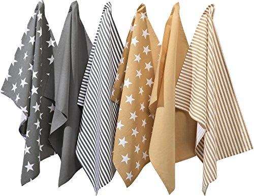 REDBEST Geschirrtücher, Küchentücher, Trockentücher 6er- Pack grau/beige Größe 50x70 cm - saugstark, strapazierfähig, Uni, Streifen, Sterne