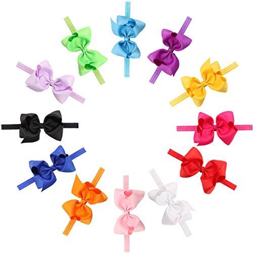 Hocaies 12 Stück Boutique Qualität Mädchen Haar Bogen Haar Bands Elastische Stirnbänder Babygeschenke Taufe Geschenksets Mädchen Band