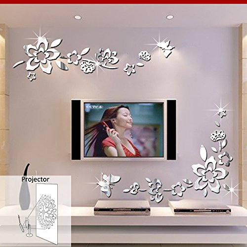 ufengke® 3D Diagonal Flowers Mirror Effect Wall Stickers Fashion Design Art Decals Home Decoration Silver