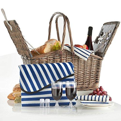 VonShef Deluxe 2 Personen Weidenkorb Picknickkorb Einklappbarer Griff mit Besteck, Tellern, Gläsern, Geschirr & Vliesdecke