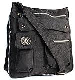 Bag Street Umhängetasche schwarz Nylon-Damenhandtasche mit Fee-Anhänger OTJ206S